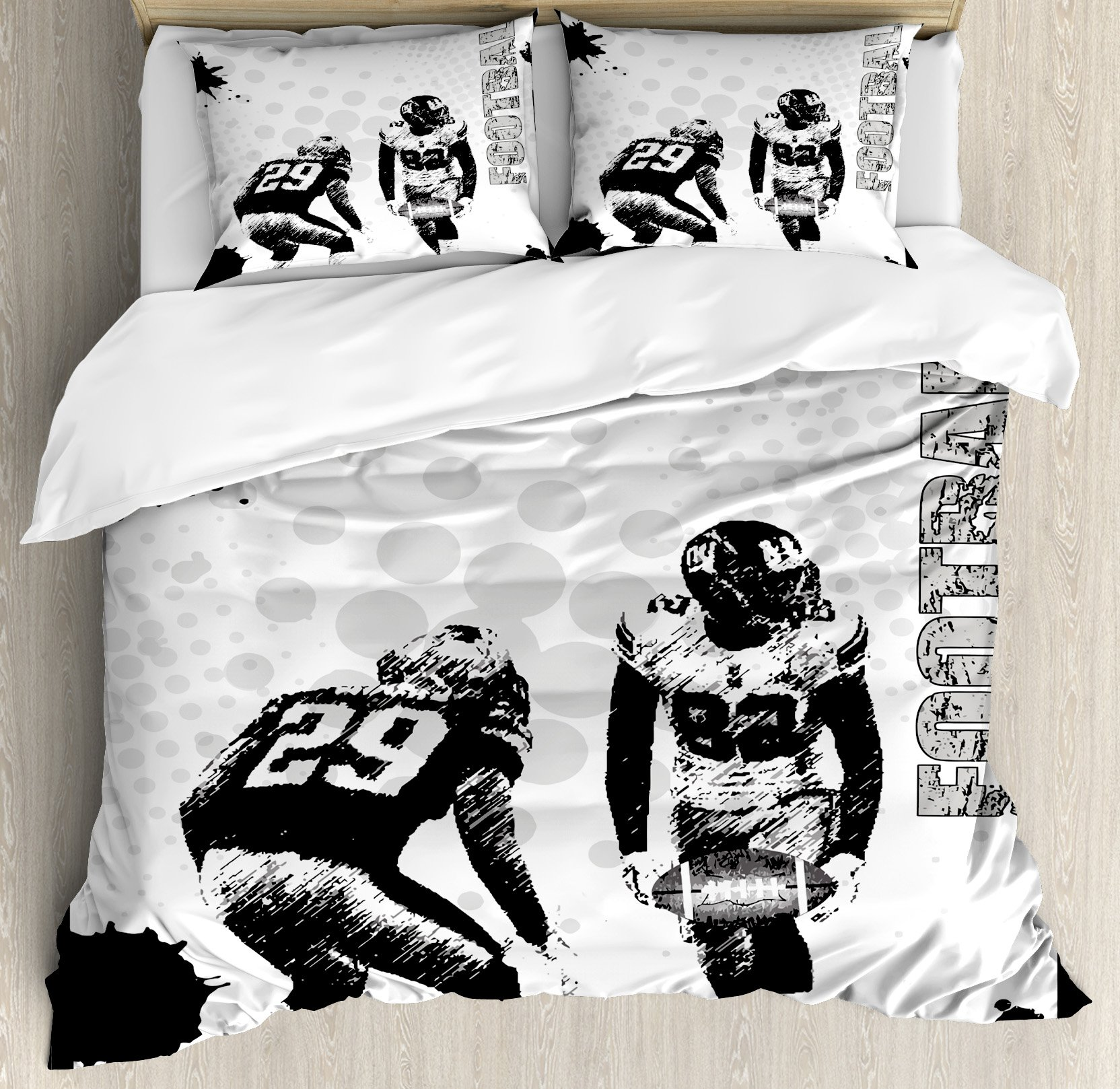 Sports Duvet Cover Set by Ambesonne, Grungy American Football Image International Team World Cup Kick Play Speed Victory, 3 Piece Bedding Set with Pillow Shams, Queen / Full, Black White