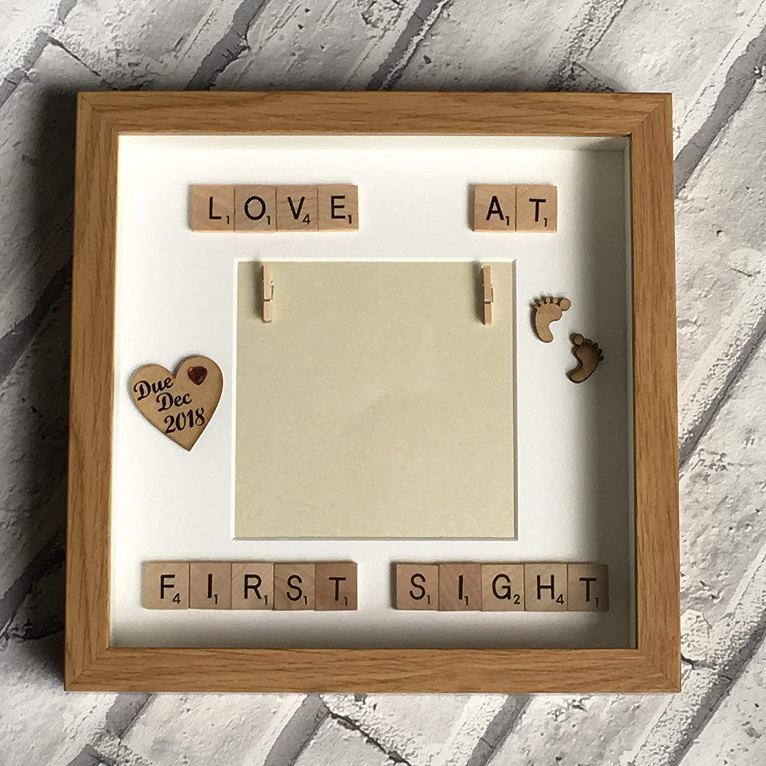 Baby Shower Gift by CleverCHIC Handmade Products Baby Scan Scrabble Art Personalised Photo Frame Keepsakes