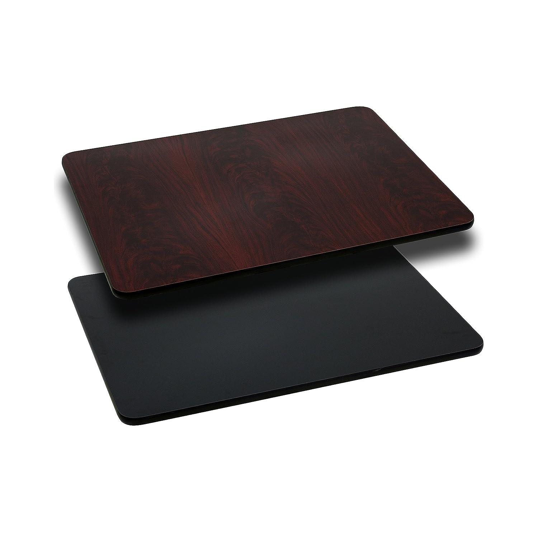Flash Furniture 24'' x 42'' Rectangular Table Top with Black or Mahogany Reversible Laminate Top