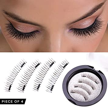 76825fa09fb Amazon.com : Magnetic Eyelashes Dual Magnet Glue-free 3D Reusable Full Size  Premium Quality Natural False Lashes : Beauty