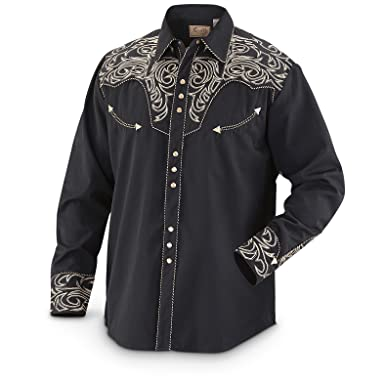 Scully Men's Embroidered Scroll Western Shirt Big Sizes (3XL and 4XL) Black  XXX-