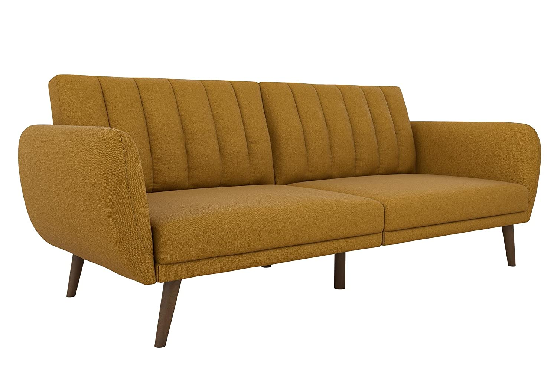 novogratz brittany sofa futon premium linen upholstery and wooden legs mustard linen