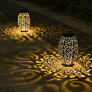 Tomshine 2 Pack Solar Lanterns, Hanging Solar Lantern Outdoor Lantern Solar Powered Lantern with Handle Metal Waterproof Decorative Solar Garden Lights for Patio Yard Pathway Walkway