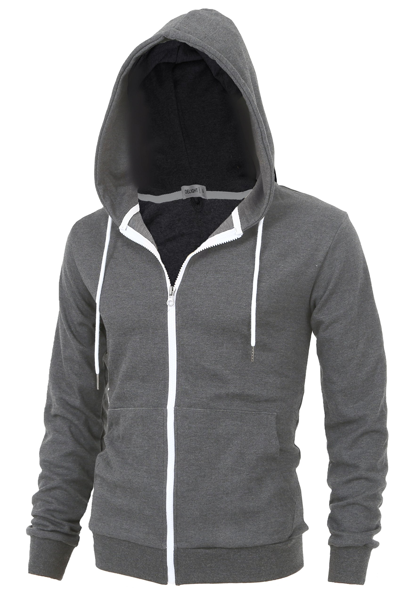 ''DELIGHT'' Men's Fashion Fit Full-zip HOODIE with Inner Cell Phone Pocket (US LARGE, Dark Grey) by Lite Delights