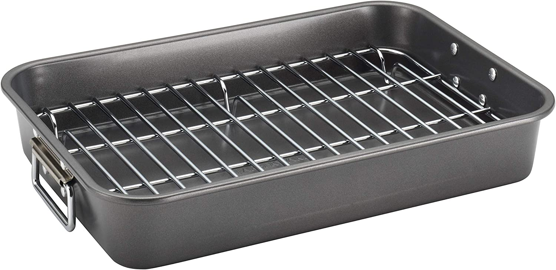 Farberware Nonstick Roasting Pan/Roaster with Rack, 11 Inch x 15 Inch, Gray
