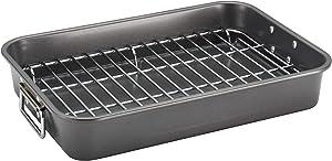 Farberware 57026 Nonstick Roasting Pan/Roaster with Rack, 11 Inch x 15 Inch, Gray
