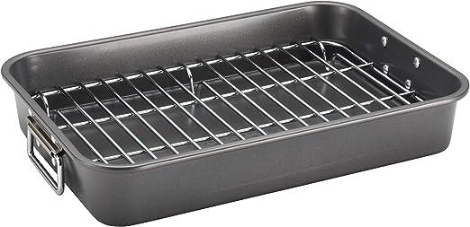 farberware bakeware nonstick steel roaster with flat rack 11 inch x 15 inch gray