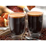 Anchor & Mill Double Walled Insulated Glass Coffee Mugs or Tea Cups for Espresso, Latte, Cappuccino, Thermo Glassware, 12 oz. (354 ml), Set of 2, Gift-boxed AM-07