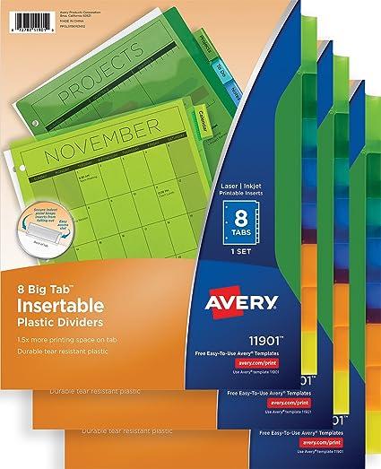 Amazon Avery Big Tab Insertable Plastic Dividers 8 Tab Set