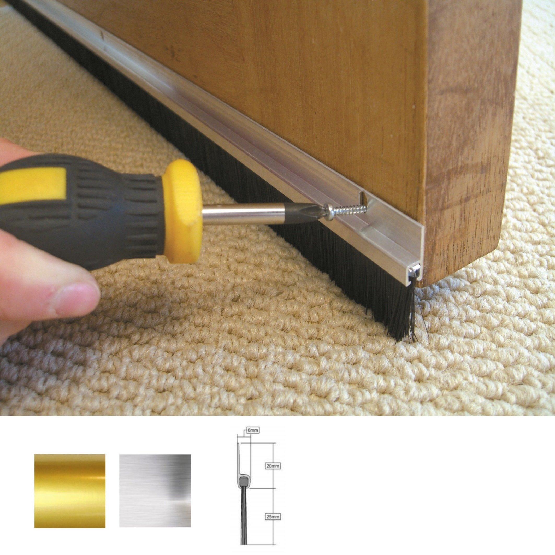 Stormguard door brush strip draught excluder aluminium for Door draught excluder