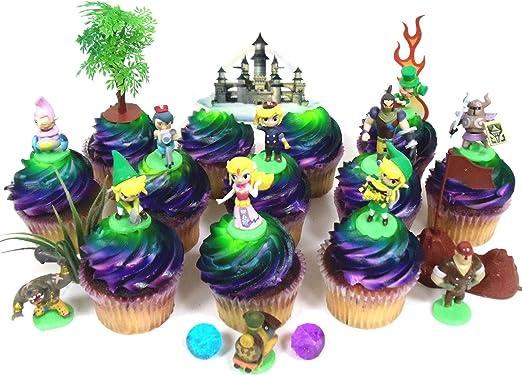 Legend of Zelda Birthday CUPCAKE Topper Set Featuring Link, Zelda, Phantom, Bryne, Anjean, Chancellor Cole, Big Blin, Alfonzo, Ferrus, Spirit Train, ...