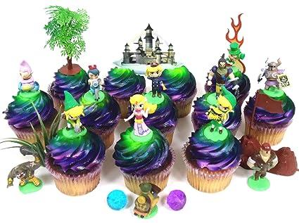 Wondrous Legend Of Zelda Birthday Cupcake Topper Set Featuring Link Zelda Funny Birthday Cards Online Elaedamsfinfo