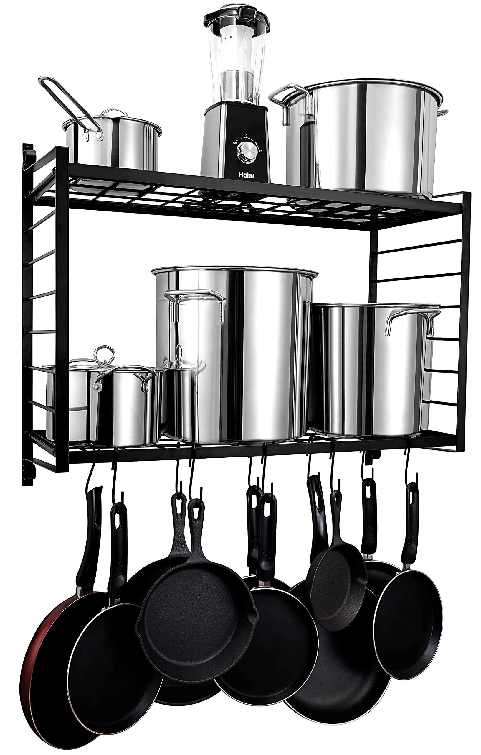 BestVida SparkWorks 2-Tiered Wall Mounted Pot Rack