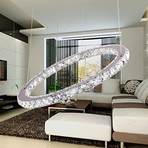 TOPMAX Chandelier Light, K9-Cut Crystals Led Ring Chandelier Natural Light Celling Pendant Light with 1 Ring 30cm