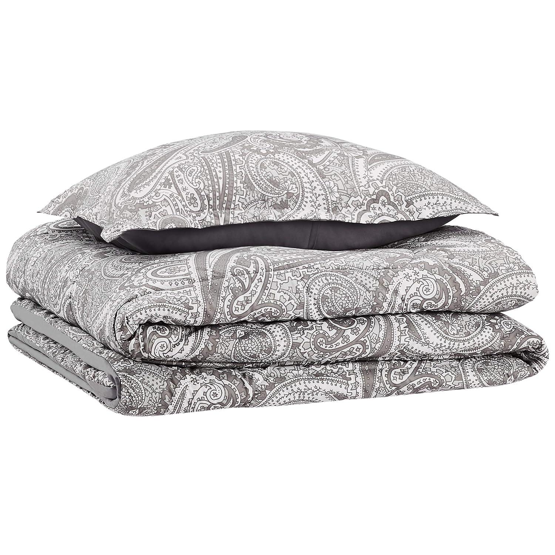 AmazonBasics Comforter Set - Soft, Easy-Wash Microfiber - Twin/Twin XL, Grey Paisley