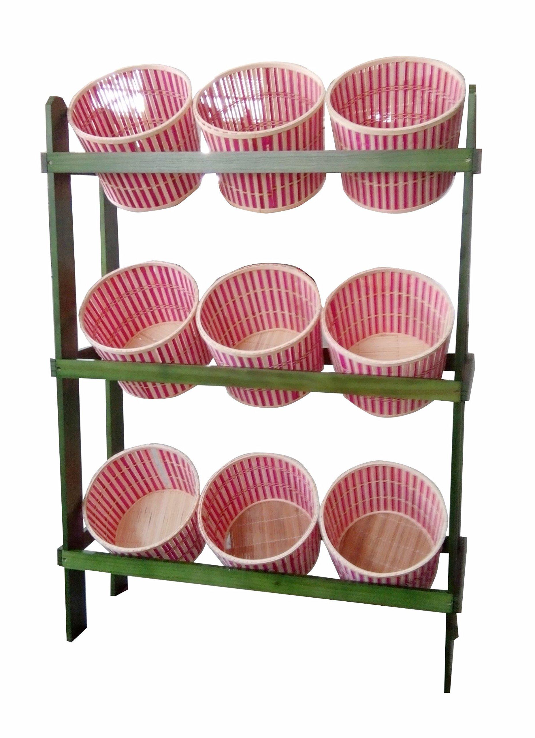 FixtureDisplays 38.5'' x 44.0'' x 11.3'' Tiered Wooden Display, Floorstanding, 9 Baskets - Green & Oak 19397 19397