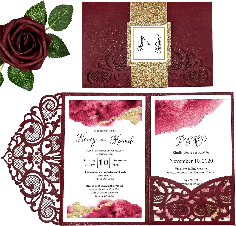 DORIS HOME 4.7x7 Inch Burgundy Laser Cut Wedding Invitations With Envelopes Kit With Gold Glitter Belly Band Wedding Invitation Cards For Wedding Invite (Burgundy, 50PCS BLANK)