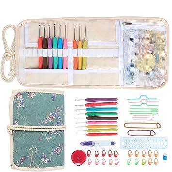 Damero Nueva ergonómico Crochet Hooks Set, Accesorios Crochet Kit/Rueda para Arriba Bolsa de Almacenamiento con Agarre Suave Ganchillo Agujas de Tejer y ...