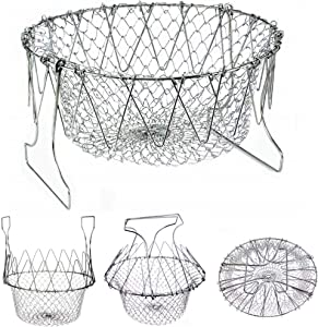 Collapsible Colander Stainless Steel Food Strainer with Handle – Fruit Basket - Vegetable Steamer Basket – Multi Function Over the Sink Kitchen Pasta Strainer - Foldable Deep Fry Basket