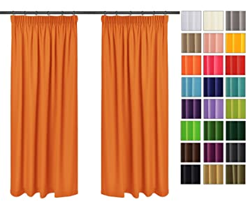 Rollmayer 2er Pack Vorhänge mit Bleistift Kollektion Vivid (Orange 6,  135x150 cm - BxH) Blickdicht Uni einfarbig Gardinen Schal für Schlafzimmer  ...
