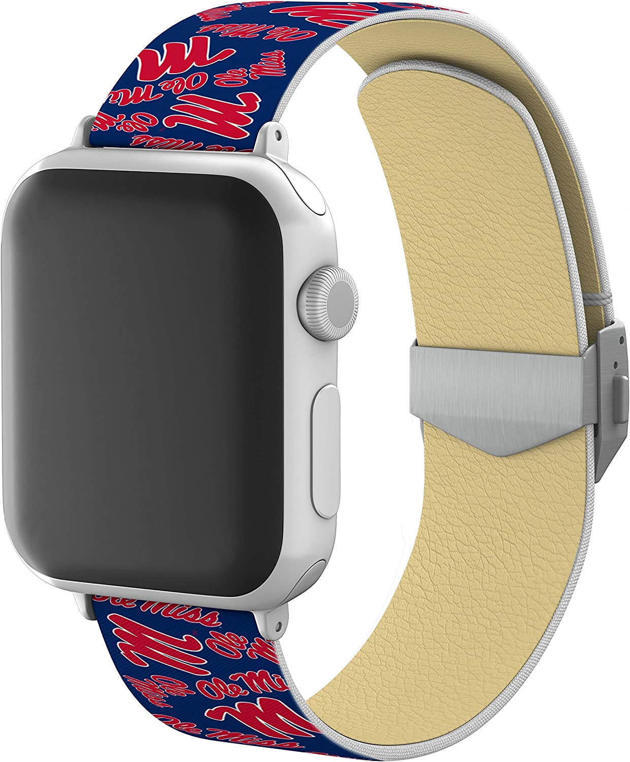 AFFINITY BANDS Mississippi Ole Miss Full Print Watch Band with Engraved Buckle Compatible with Apple Watch - 38mm/40mm Random Logo