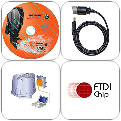 Moto-Solution USB Diagnostic Tool Scanner KIT for EVINRUDE Outboard Engine  E-TEC/Fitch