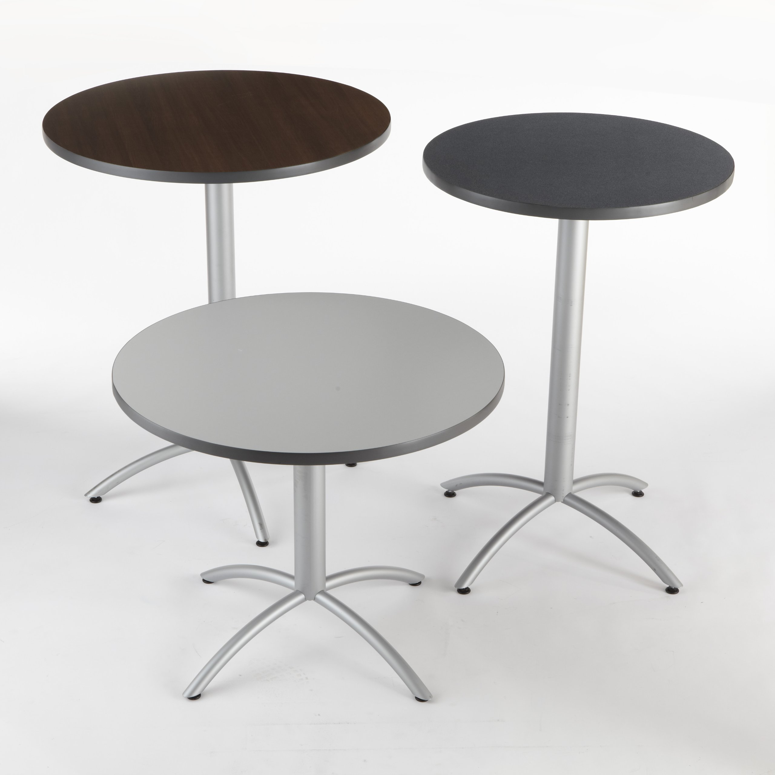 Iceberg ICE65668 CafeWorks Round Bistro Table with Powder-Coated Steel Base, 36'' Diameter x 42'' Height, Graphite Granite