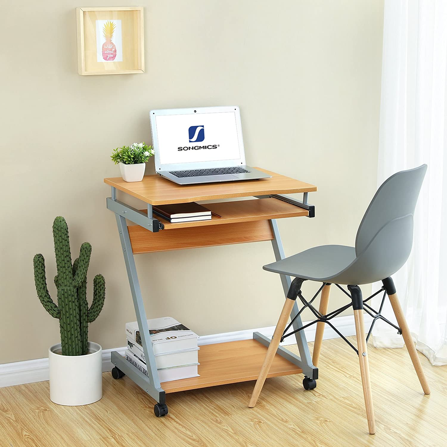 Songmics Computer Desk Mobile Writing Desk Z Shaped Pc Table Study