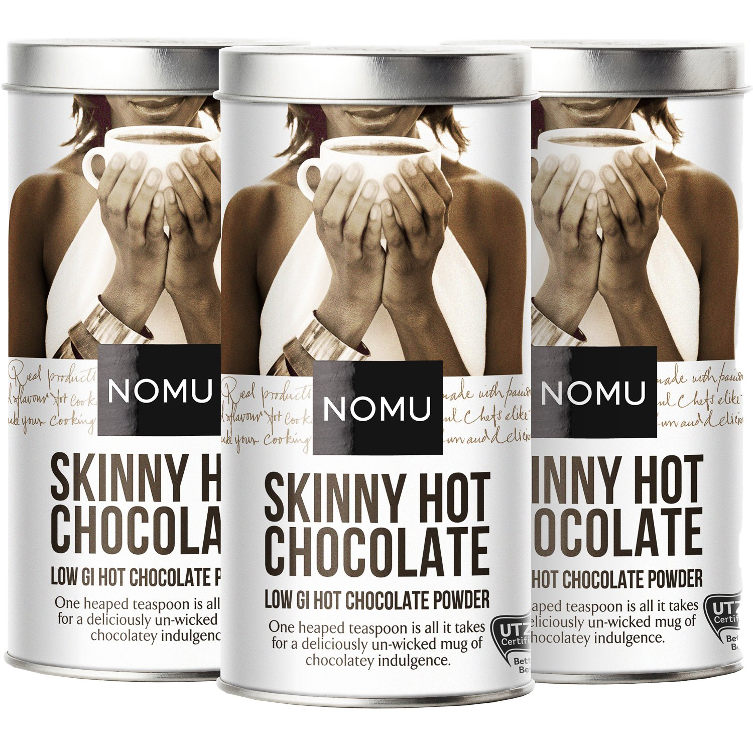 NOMU Skinny 60% Cocoa Hot Chocolate (3-Pack) | Only 20 Calories, High Protein, Low GI, Low Sugar (33 servings each) ...