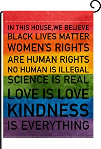 pingpi in This House We Believe Rainbow Black Lives Matter Pride Tolerance Garden Double Sided Flag Home Yard Lawn Patio Banner Decoration 12.5 x 18 Inch