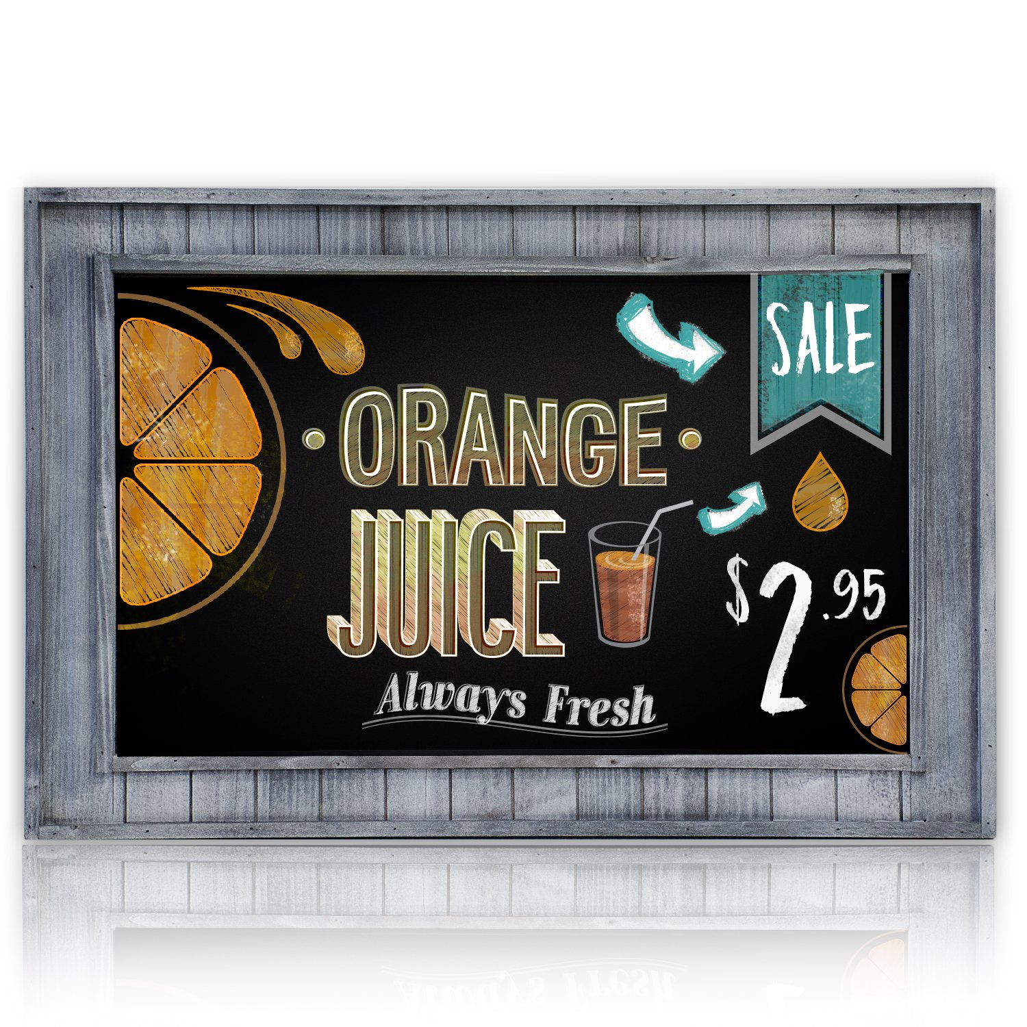 Large Decorative Chalkboard Framed with Rustic Gray Inset Frame   20'' x 30''   Wall Mount for Restaurant Menu or Kitchen Decor   Large Writing Area for Memos, Lists, Menus & More!