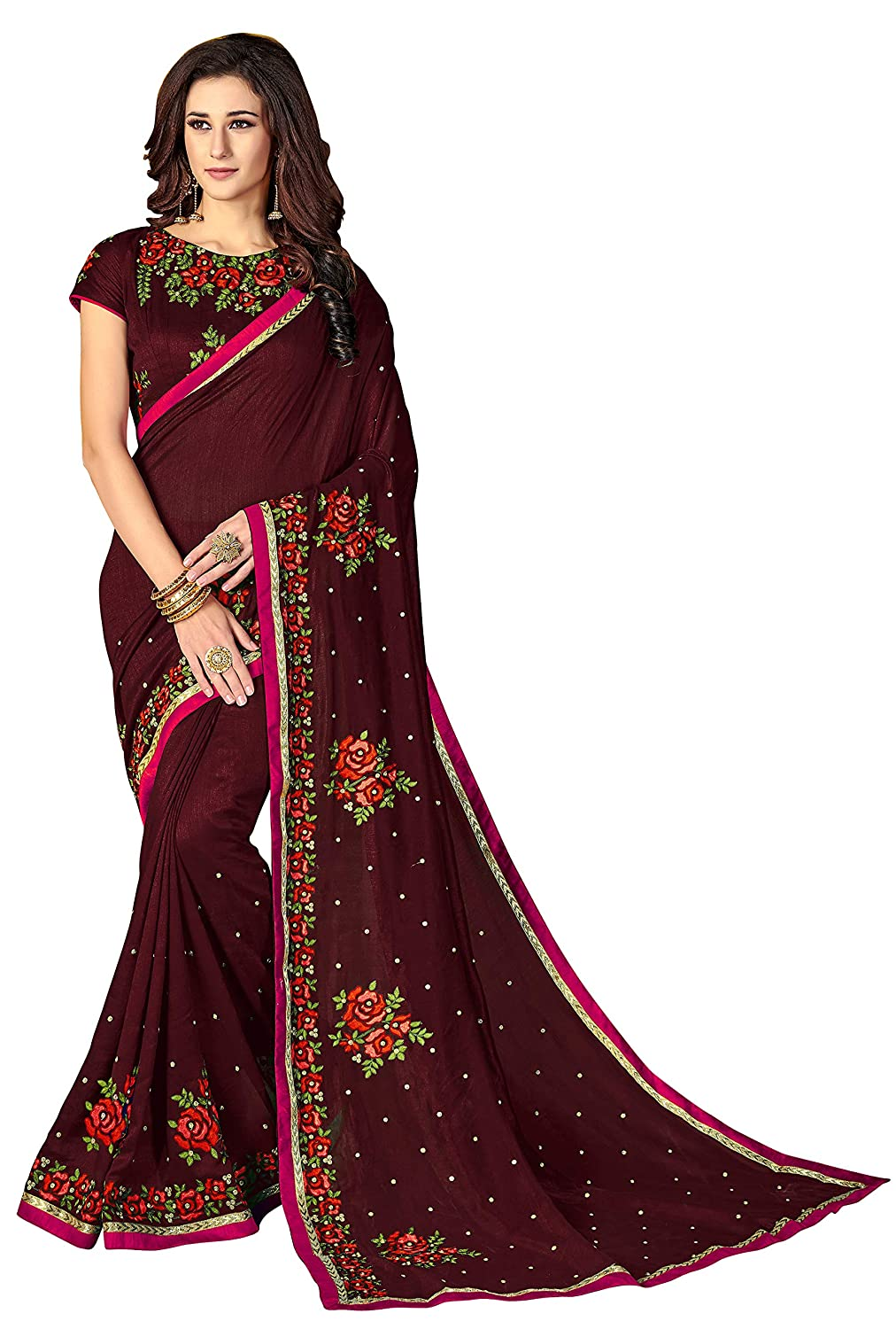 Glory Sarees Women's Vichitra Silk Saree (luxury101parent)