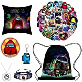 Among-us Drawstring Backpack, Pillow Case, Stickers, Keychain, Brooch, Bracelet, Necklace, 7 Pack