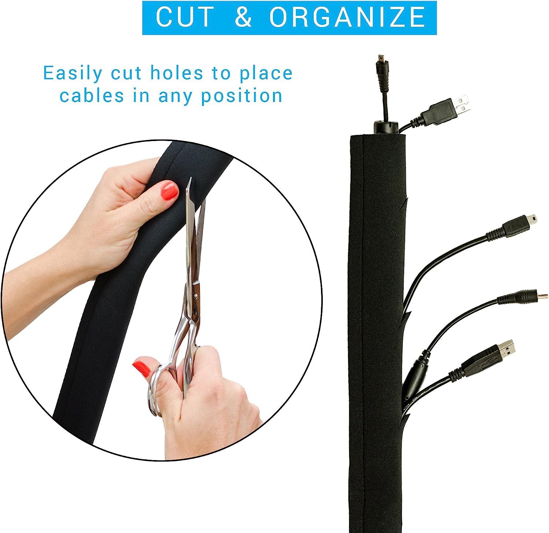 Cable Tidy Sleeves Cable Management Wire Tidy Protector de cable Spine//Snake Type DIY Flexible para el hogar y la oficina Organizador de cables 80 x 6 x 6 cm, redondo, blanco
