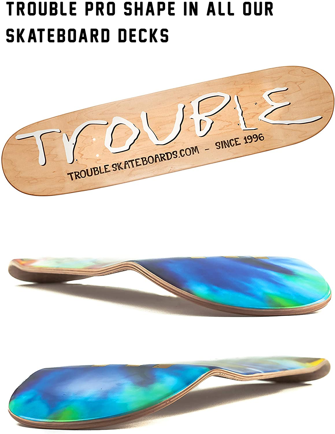 TROUBLE SKATEBOARDS Skateboard Deck 8.0 8.1 8.25 8.50 North American Maple Professional Decks D28