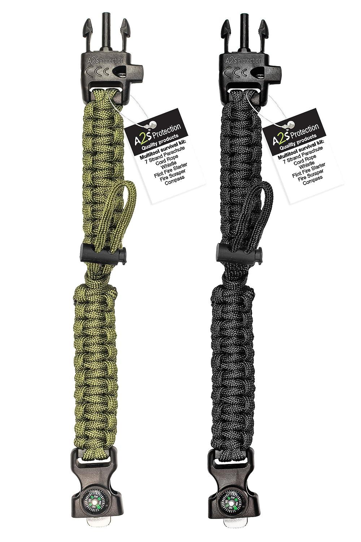 Gr/ün//Gr/ün Notfallmesser /& Pfeife Survival Gear Kit mit integriertem Kompass Feuerstarter A2S Protection Paracord Armband K2-Peak