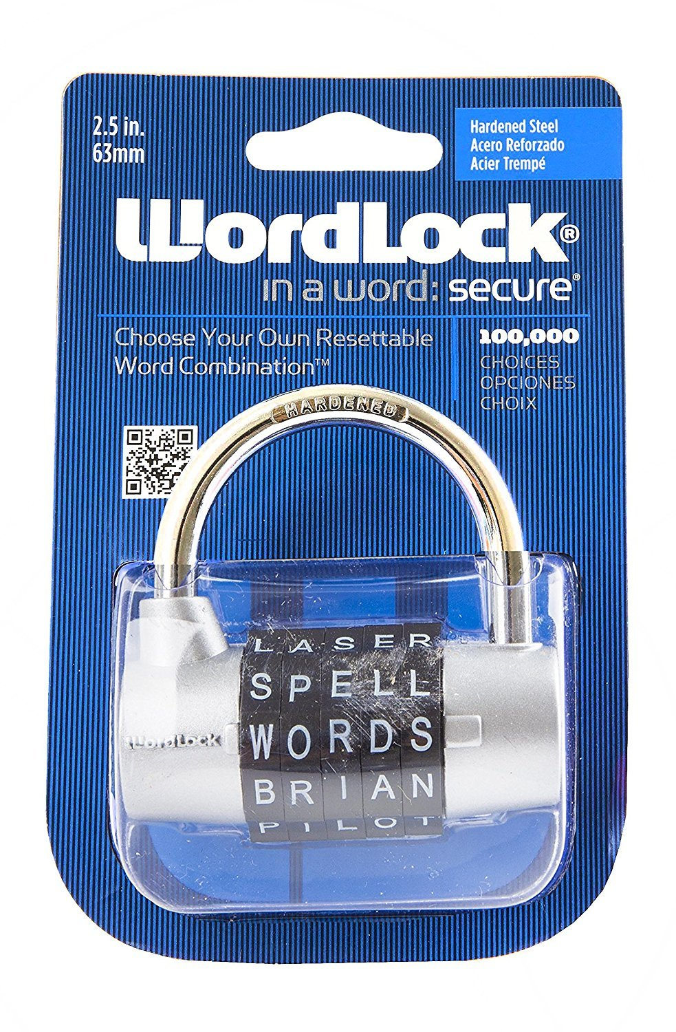Wordlock PL-003-SL 5-Dial Combination Padlock, Silver 2pack