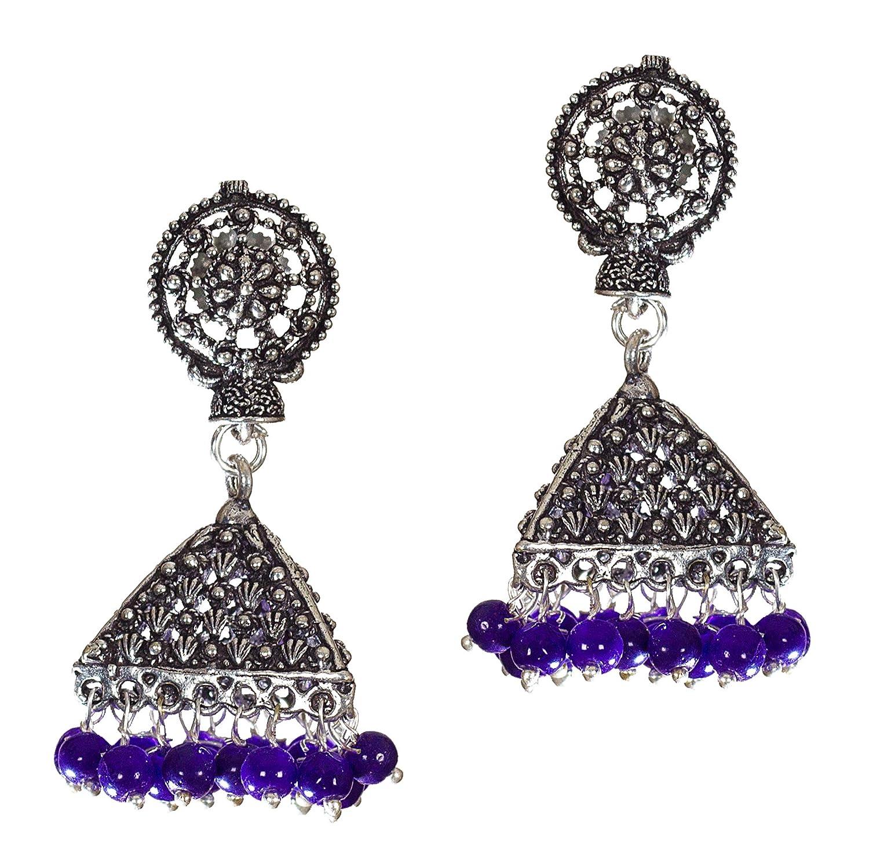 DESI HAWKER Silver Oxidized Earring Bali Jhumki Jhumka Jewelry Bollywood Drop Dangle Pyramid Chandelier Floral NI-20