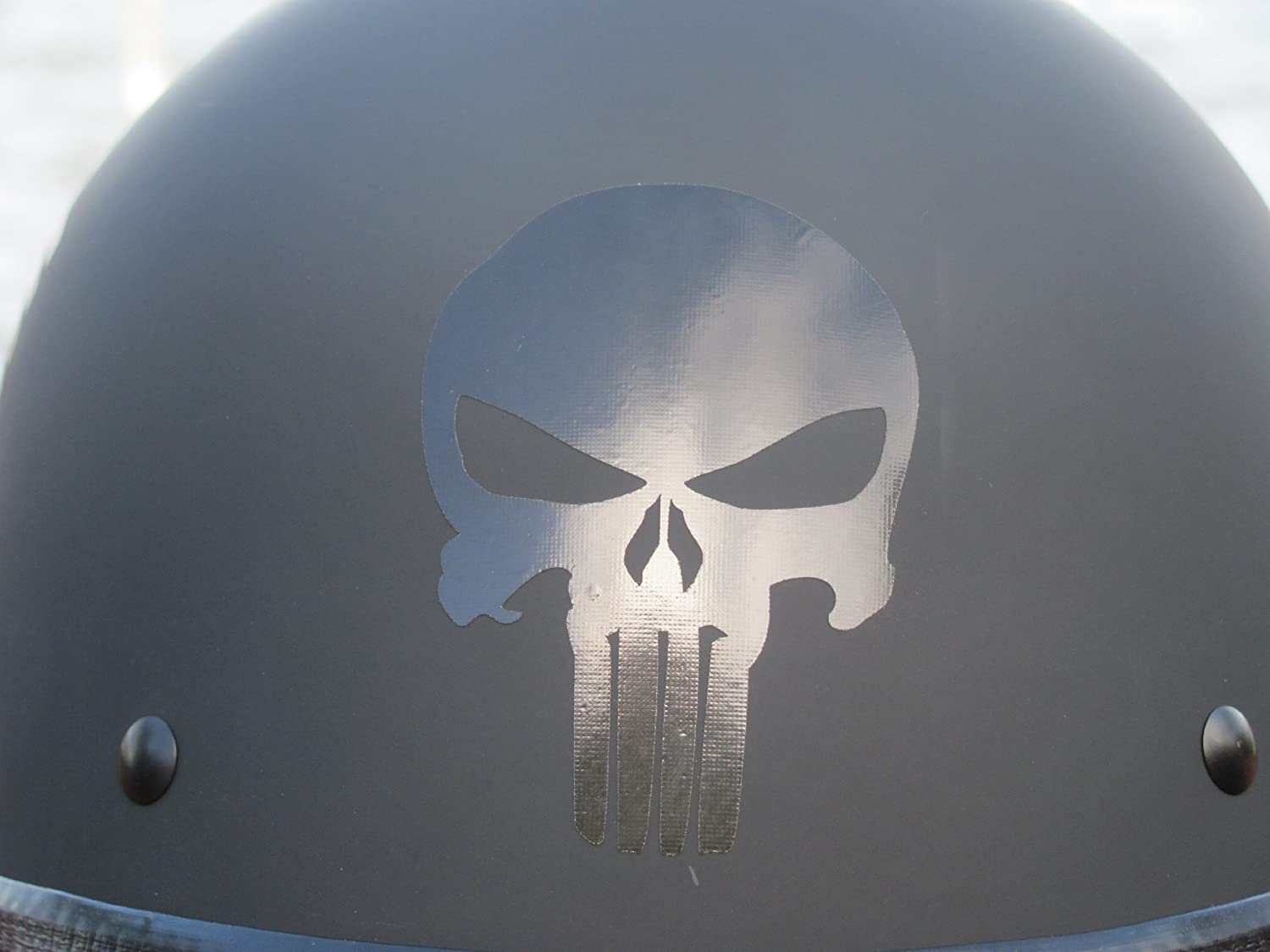 Amazoncom Reflective Punisher Skull Helmet Decal In BLACK - Vinyl decals for motorcycle helmets