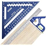 WORKPRO Rafter Square and Combination Square Tool Set, 7 IN. Aluminum Alloy Die-casting Carpenter Square and 12 Inch Zinc-all