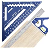 WORKPRO Rafter Square and Combination Square Tool Set, 7 IN. Aluminum Alloy Die-casting Carpenter Square and 12 Inch…