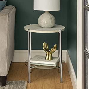 WE Furniture AZF20SRDSTWMCR Modern Glam Round Side End Accent Table Living Room, 20 Inch, White Marble, Silver