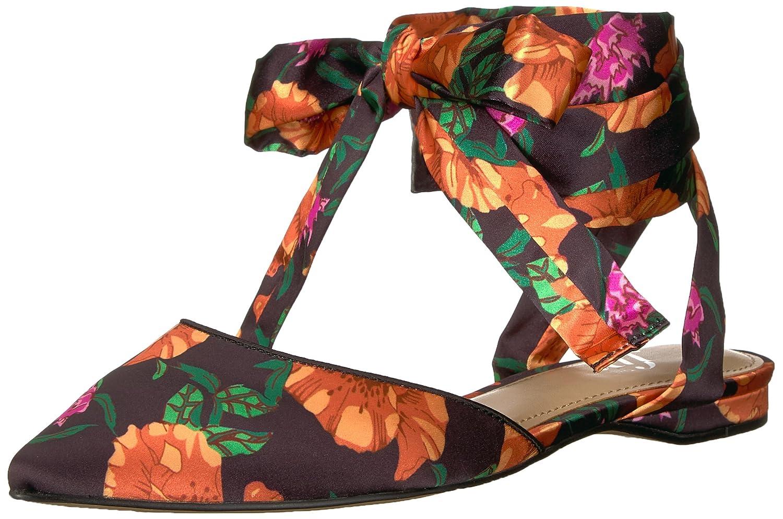 The Fix Women's Priscilla Pointed Toe Lace-up Ballet Flat B076TP287N 9.5 B(M) US|Black Poppy Floral Print Satin