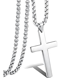 Reve simple stainless steel silver tone cross pendant necklace for jstyle jewelry mens simple cross necklace stainless steel pendant for women 22 24 inch aloadofball Images