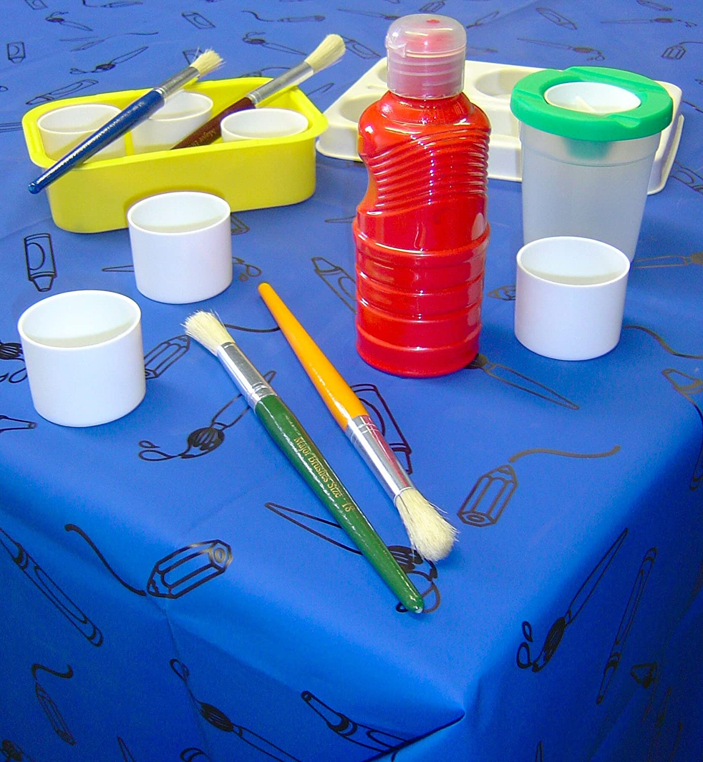 Blue Plastic Tablecover / Splashmat Major Brushes