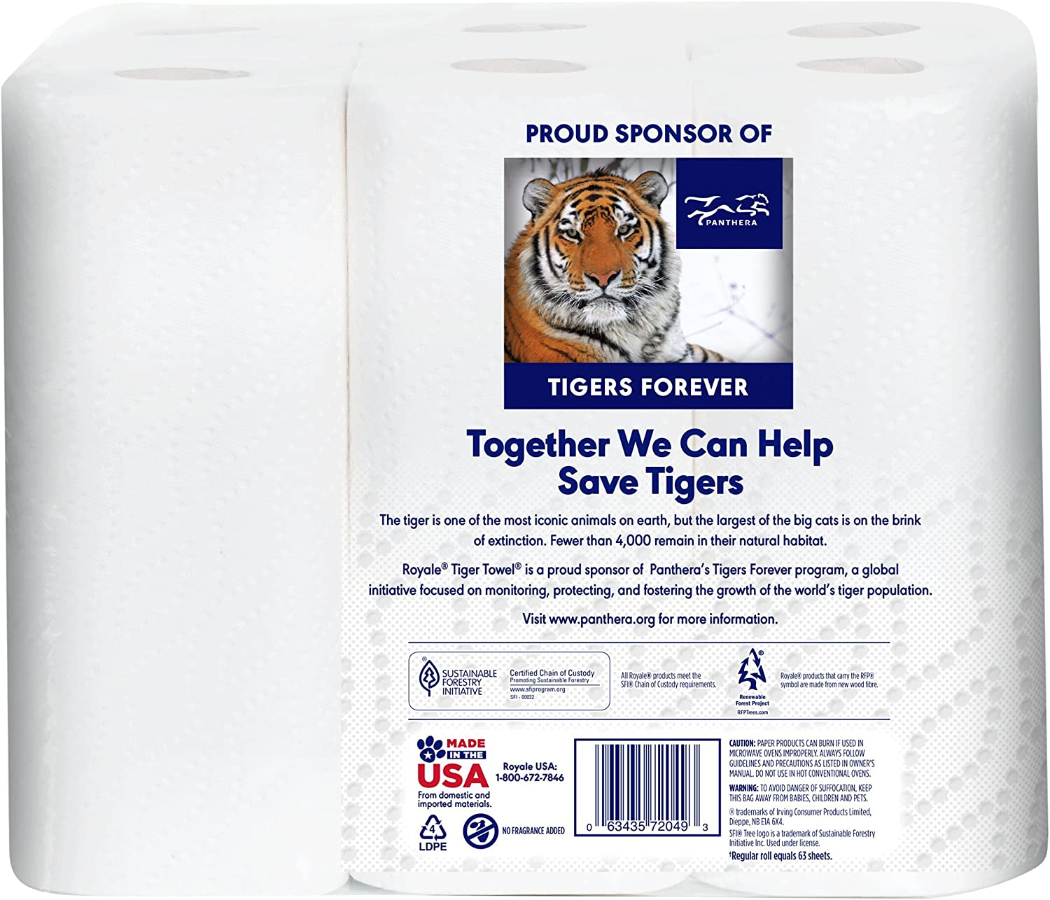 Royale Tiger Paper Towels Choose-A-Size 2 Ply 6 Pack Large Rolls