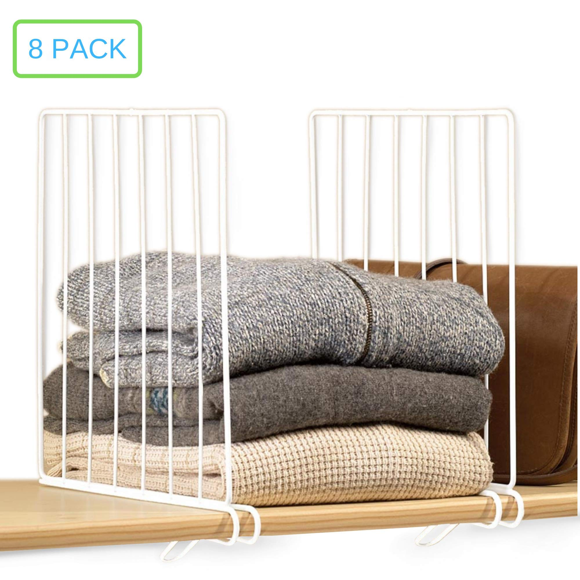 Xabitat Vertical Closet Wood Shelf Divider 2.0 - New and Improved Organizer with Easy Clamping - Powder Coated Steel Wire Wardrobe Separators - Set of 8 - White by Xabitat