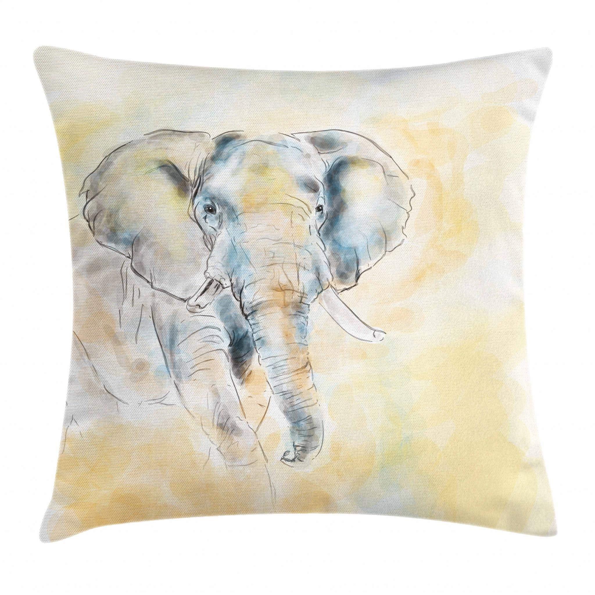 Ambesonne Elephant Throw Pillow Cushion Cover, Elephant Watercolor Style Illustration Wild Creature Safari Exotic Wildlife Theme, Decorative Square Accent Pillow Case, 16'' X 16'', Cream Grey