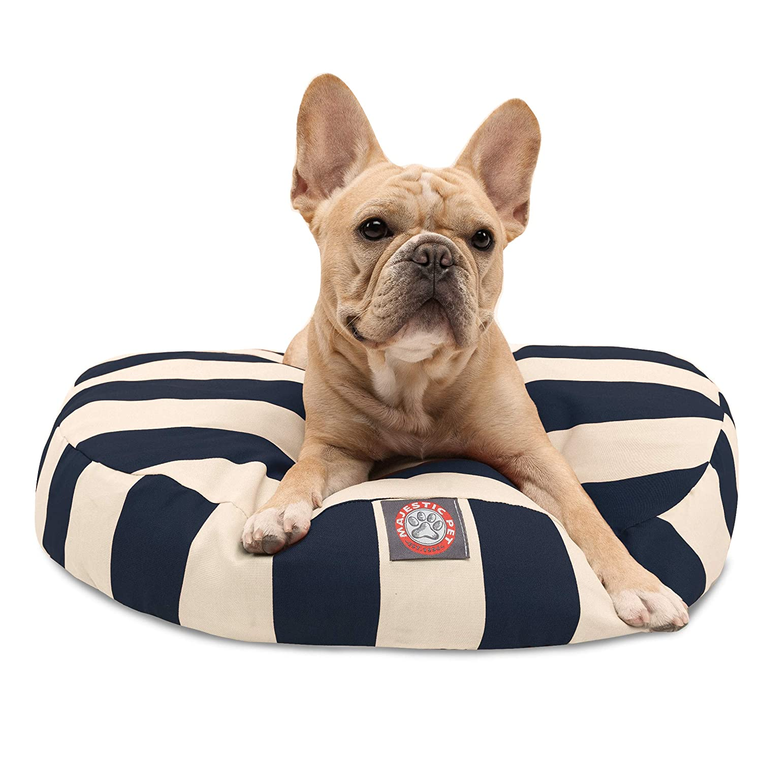 Navy bluee greenical Stripe Small Round Indoor Outdoor Pet Dog Bed with Removable Washable Cover by Majestic Pet Products