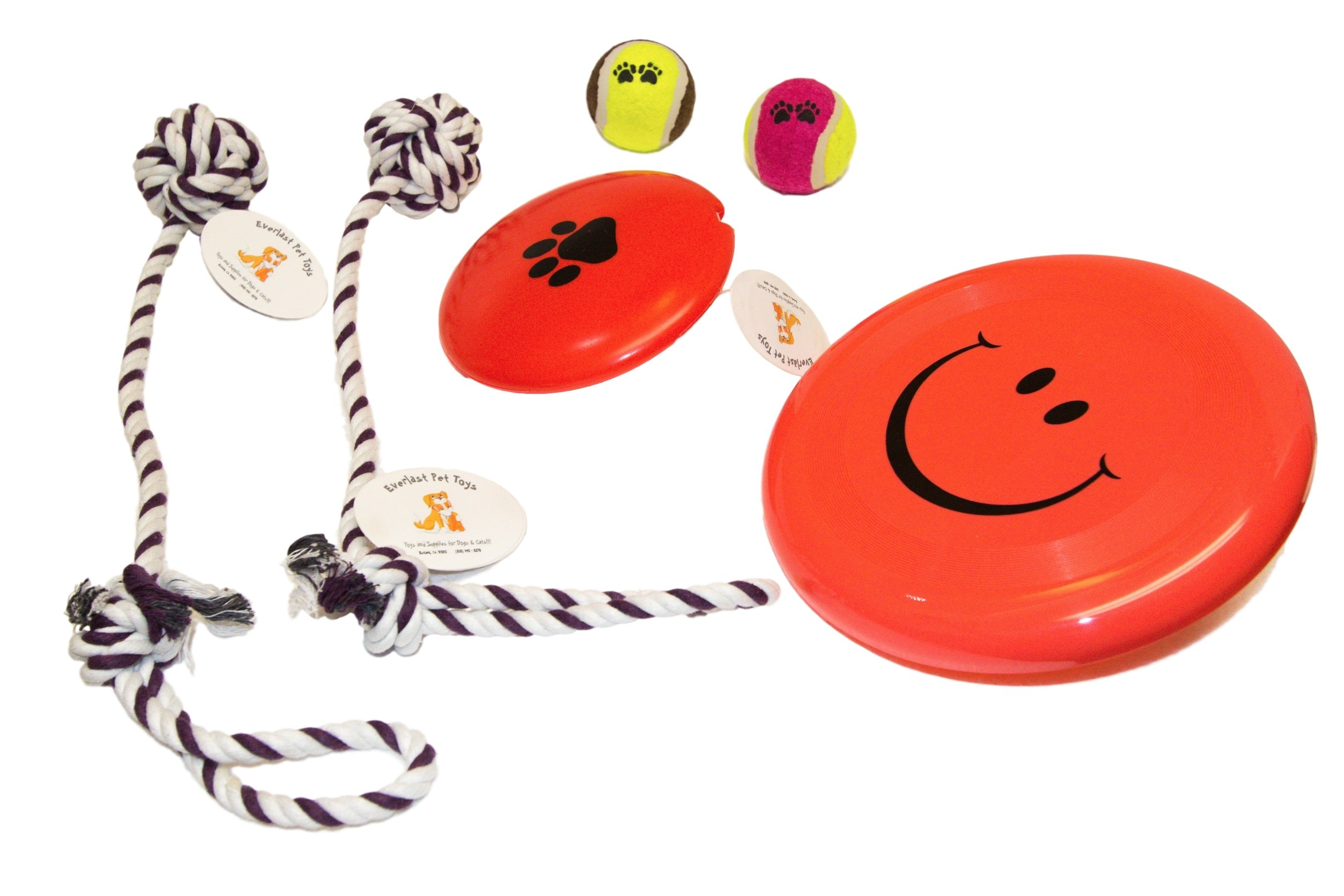 Everlast Pet Toys | Chew & Squeak Toy JUMBO Bundle Dogs | 2 - Knotted Pull Ropes | 'Paw' Squeaker | Guaranteed | 2 - 'Paw' Tennis Balls | 'Smiley Face' Flying Disc